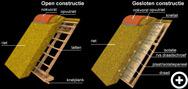 Open en gesloten constructie van rieten daken en kappen