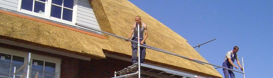 Nieuwbouw rieten dak op boerderij